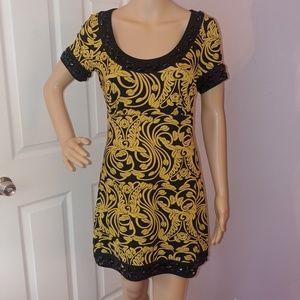INC yellow/black pattern summer dress